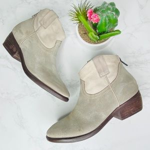 Steve Madden Suede Booties Taupe Cream Western